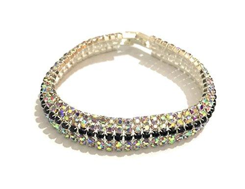 Diamante Modeschmuck - Diamante AB Kristall Silber/Schwarz 5 Reihen