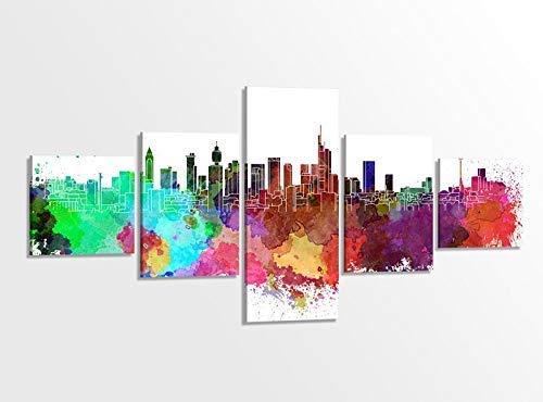 Bunte-kunst-druck (Leinwandbild 5 tlg. 200cmx100cm Frankfurt Skyline Stadt bunt Retro Kunst Bilder Druck auf Leinwand Bild Kunstdruck mehrteilig Holz gerahmt 9AB320)