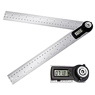 360 Degree 600mm 60cm (23 5/8 in) Digital Angle Ruler Angle Gauge Finder Meter Protractor Measure metric and imperial scale for automobile, tools, constructions, boating, woodworking and machining (24'')