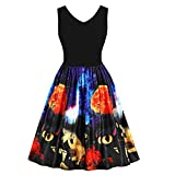 VEMOW Halloween Rock Sommer Elegant Damen Frauen Sleeveless Vintage Pumpkins Abend Party Prom Kostüm Swing Kleid(Blau, EU-38/CN-L)