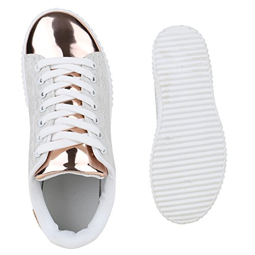 5c2b0bac5c0de3 Plateau Sneakers Damen Sneaker Low Glitzer Metallic Schuhe ...