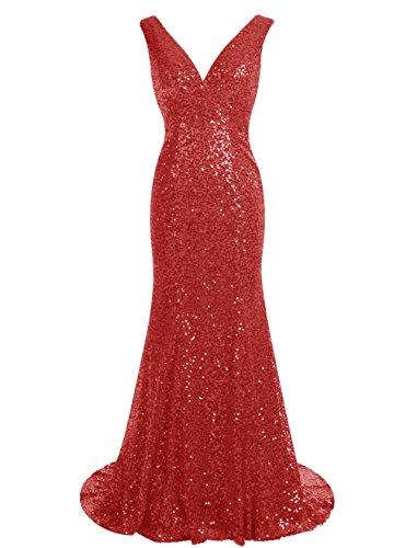 Dressystar Robe femme, Robe de soirée longue à sirène, à col V, à paillettes Rouge