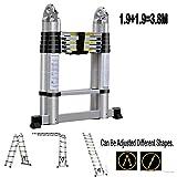 Aluminium-Teleskopleiter, zusammenklappbar, 1,9 m + 1,9 m, A Rahmen, Mehrzweck-Leiter, ausziehbar, 3,8 m, max. 150 kg Belastung mit EN131-Zertifikat