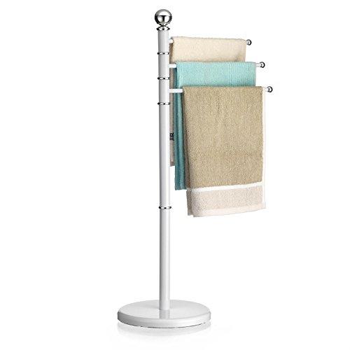 CARO-Möbel Handtuchhalter Petra Handtuchständer Badetuchständer mit 3 beweglichen Handtuchstangen, Metallgestell in weiß lackiert -
