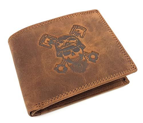 echt Büffel Voll-Leder Männer Geldbörse, quer, naturbelassenes Hunterleder Portemonnaie Totenkopf Schädel Skull mit RFID NFC Schutz