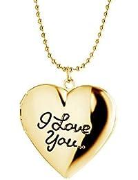 """Schmuck für Paare Gravur """"I Love You"""" Foto Medaillon Herz Halskette mit Kette zum öffnen Anhänger für Damen und Herren"""