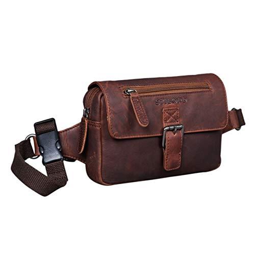 STILORD 'Ian' Bolso de Cintura de Piel Riñonera Vintage para Hombres Mujeres Bolso de Cadera para Festival Fiesta Viaje Bolsa de Cuero, Color:valenica - marrón