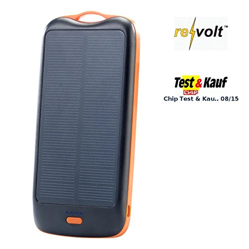 Revolt Solar Ladegerät Handy: Solar-Powerbank PB-50.s mit 5.000 mAh, Ladestand-Anz, 1x USB (Outdoor USB Solar Powerbanks)