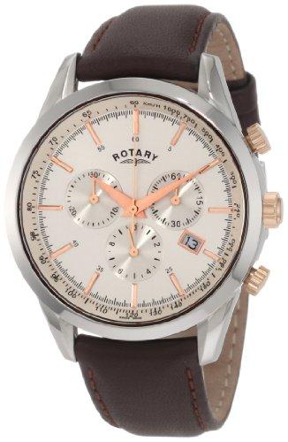 Rotary GS00043/02 - Reloj para hombres, correa de cuero color marrón