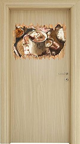 heisse Schokolade mit Zuckerstange Kunst Pinsel Effekt Holzdurchbruch im 3D-Look , Wand- oder Türaufkleber Format: 62x42cm, Wandsticker, Wandtattoo, Wanddekoration