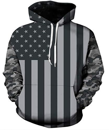 USA Flagge Hoodie Mann Damen Cool Amerika Flagge Gedruckt Pullover Mit Kapuze Camouflage Langarm Gym Sweatshirt Schwarz S Camouflage Pullover Kapuze