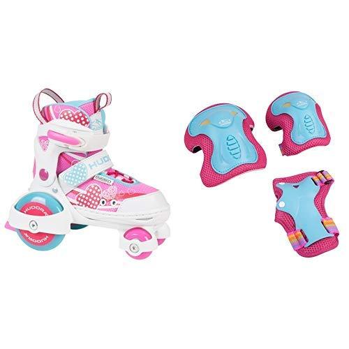 HUDORA Rollschuhe My First Quad 2.0 Girl, Gr. 26-29 - Roller-Skates Mädchen - 22042 & HUDORA Protektoren Kinder Skate Wonders, Protektoren-Set Inliner, Gr. S, 83317