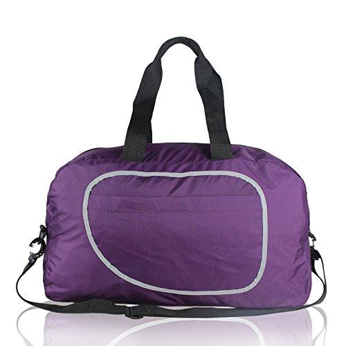 Teamoy Duffle Tasche, Sporttasche für PE Kits, Schwimmen Gear, Sport-Stuff, Reise Essentials und vieles mehr - leicht, faltbar in sich selbst, große Kapazitäten & Wasser beständig, perfekt über Nacht  Lila