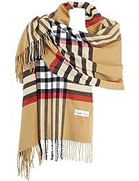 19e7b303f31 Ornella Venturi Foulard Etole pour femme écharpe à carreaux en damier doux  et chaud comme du