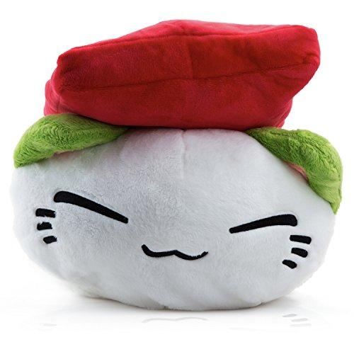 Nemu Neko Plüschtier Katze mit Sushi in Rot - Mange Anime Kuscheltier und Stofftier. Kleine Plüsch Cat Katze Merchandise XXL zum kuscheln für jeden Anime Fan oder für jedes Kind Groß und Klein als Geschenk (Japanische Baby-kleidung)