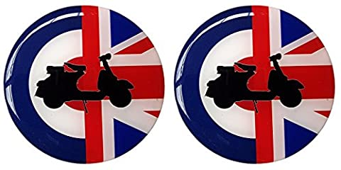 Moped Scooter Sticker Decal Round Badge Mod Target Union Jack Resin Gel 3D Domed Badge 48mm - 2