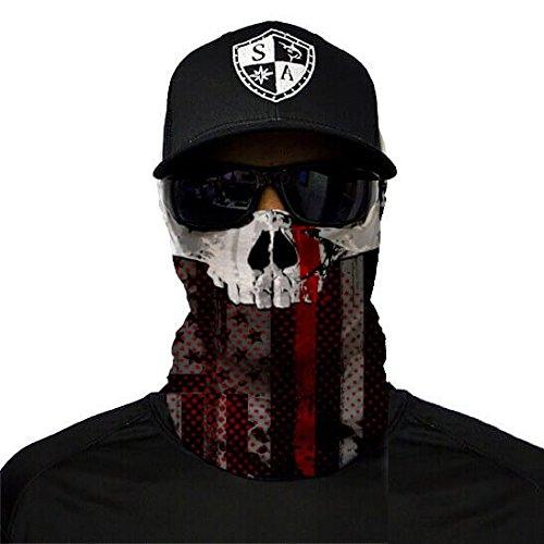 A.S.98 SA Fishing Company Face Shield Sturmhaube Bandana Gesichtsmaske Halstuch Ski Motorrad Paintball Halloween Maske (Thin Red Line Skull)