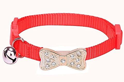 Breakaway Cat Collar Adjustable Kitten Collars with Bell, Red PUPTECK