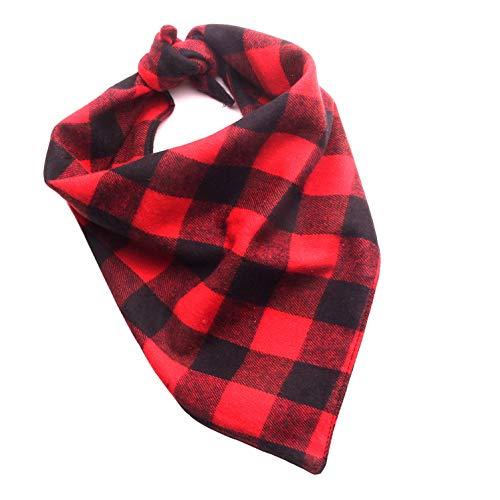 Ranphy Kopftücher für Hunde Weihnachten Hunde-Halstuch Plaid Haustier Kopftuch Lätzchen Dreieck Schal Klassische Dreieckstuch Weihnachtsmann Schneemann Tuch für Kleine und Mittelgroße Hunde S