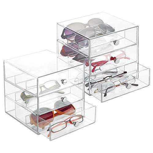 mDesign Juego de 2 guarda gafas con 3 cajones cada uno – Organizador de gafas de vista, de lectura o de sol – Expositor de gafas con subdivisiones fabricado en plástico – transparente