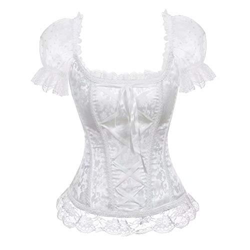 aizen Prinzessin Renaissance Lace-up Spitzenkorsett Floral Sleeves Geraffte Elegante trägerlosen Braut mit trägerlosen Top Weiß 4XL