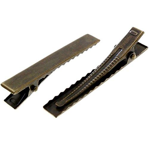 10 Supports barrettes crocodiles pinces à cheveux pour loisirs créatifs - Bronze / 30