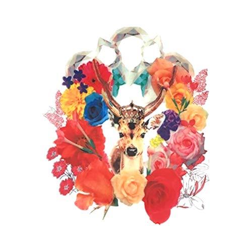 Wisilan Stickerei-Applikationen, süßes Blumen-Hirsch-Muster, Transfer-Patches zum Aufbügeln oder Aufnähen, für DIY Rock, Jeans, Jacken, Kleidung Dekoration, acryl, a, 29cm*24cm -