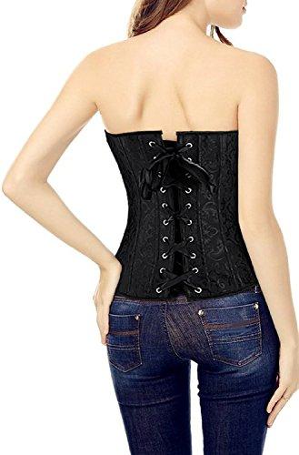 MISS MOLY Korsage Damen Vintage Vollbrust Korsett Spitze Design Mit G-Tanga Schwarz(keine Spitze)