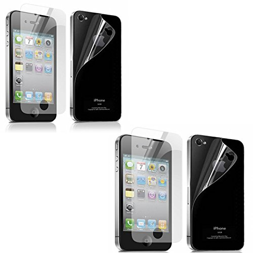 SDO Anti Scratch Screen Protector Guard for Apple iPhone 4 4S (2 Front + 2 Back) Pack of 2 Clear Screen Guard