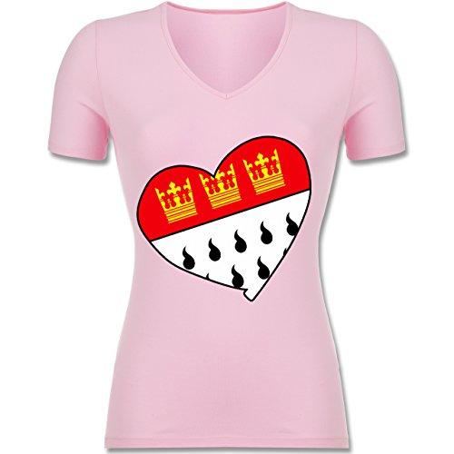 Karneval & Fasching - Köln Wappen Herz - XS - Rosa - F281N - Tailliertes T-Shirt mit V-Ausschnitt für Frauen (Herz-shirt Rosa)