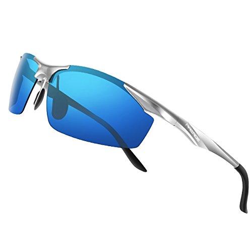 PAERDE Herren Sportbrille Polarisierte Sonnenbrille Fahrerbrille 2206,Silber-Blau