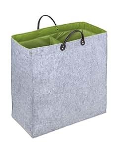 Wenko 3440204100 Wäschesammler Duo Filz - Wäschetonne, Aufbewahrungsbox, 51 x 54 x 24 cm, 66 Liter, grau-grün
