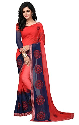 Fab Valley Red Color Georgette Fabric Embroidery Work Designer Saree For Women