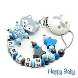 Schnullerkette mit Namen, Nuckelkette für Junge und Mädchen - VIELE MODELLE - Einzigartige Schnullerketten für Einzigartige Babys - Häkelperle 3D Tiere Motivperlen (herz-stern-füßchen)