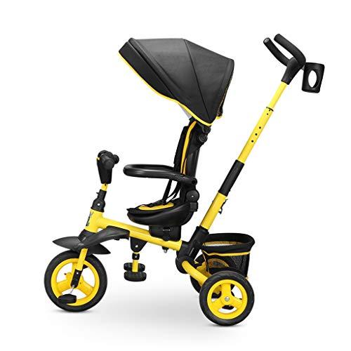 Dreiräder Kinder Trike Bike Kleine Fahrräder Im Außen Big Wheel Mit Push-Rod Faltbarer Kinder Tricycles Alter 1-6 Einfache Montage (Color : Yellow, Size : 80 * 54 * 100cm)