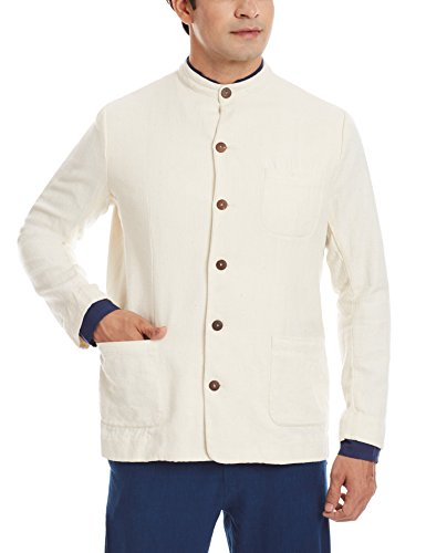 11.11/eleven eleven Men's Slim Fit Blazer (Khadi Nehru Jacket/EKC/6/L_Ecru)  available at amazon for Rs.1799