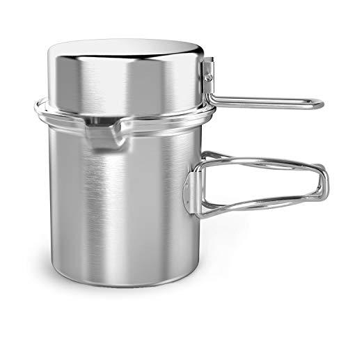 Chihee Camping Wasserkocher 1L Draußen Küchenzubehör Edelstahltopf mit einem erweiterbaren Griff und doppelter Verwendung Abdeckung Transportierbar zum Wandern Rucksack Picknick