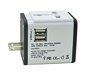 All In One International Travel Power Plug Adapter Charger (Covers More Than 150 Countries with US/EU/UK/AU Plugs)with Double USB Charger for Cell Phone (white)