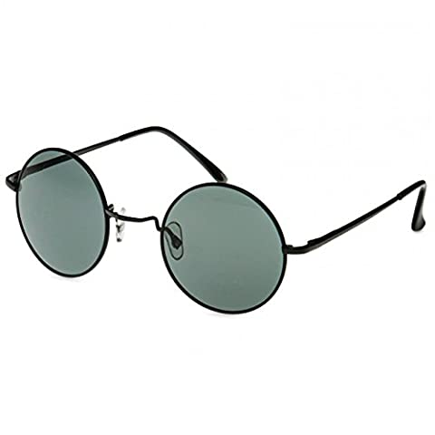 CASPAR SG039 runde Retro John Lennon Sonnenbrille / Rundbrille / Hippi Brille / Nickelbrille, Farbe:schwarz /