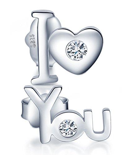 """Unendlich U Klassisch Herz\""""I love You\"""" Damen Ohrstecker 925 Sterling Silber Zirkonia Stecker Ohrringe"""