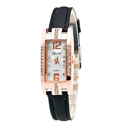 Damenuhr,luoluoluo Mode Damen Zeiger Quarz Armbanduhr, Armbanduhr Mit Lederband & Legierung Strass FäLlen (Nero)