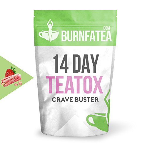 Burnfatea 14 Day Crave Buster Teatox, Strawberry Rhubarb -14 Pouches/Pack