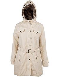 SODIAL (R)caliente mujeres espesan la capa caliente del invierno Abrigo con capucha anorak Chaqueta Larga abrigo Beige - S