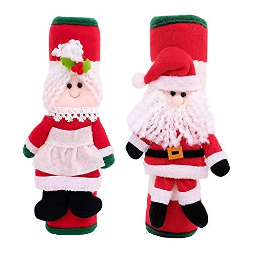 Hniunew Weihnachten KüHlschrank Griff Handschuhe Baumwoll Warm TüR Behandeln Cover KüChe HaushaltsgeräTe-Handschuh Santa Claus KüHlschrank-Hebelgriff TüRgriff Stange Weihnachtsdekoration