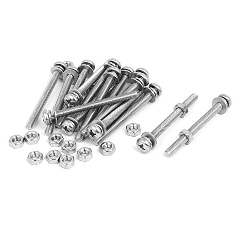 sourcingmap® M4 x 45mm 304 Stainless Steel Kreuzschlitz Pan Head Screws Nuts w Washers 15 Sets (Metall-unterlegscheibe Pan)