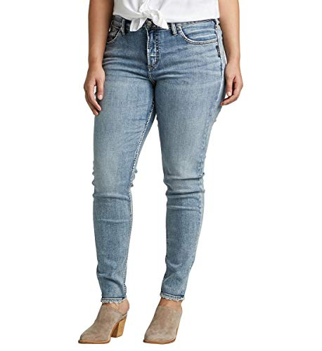 Denim Und Co (Silver Jeans Co. Damen Plus Size Avery High-Rise Curvy Skinny Jeans, Power Stretch Vintage, 12W x 31L)