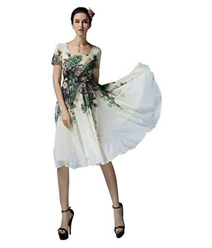 Desney Fashion Women\'s New White & Green Georgette Designer Western Wear