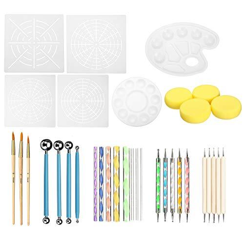 TuToy 36Pcs Mandala Dotting Rock Painting Kit Dot Nail Art Pen Paint Stencil Tools Kit Hand Tool