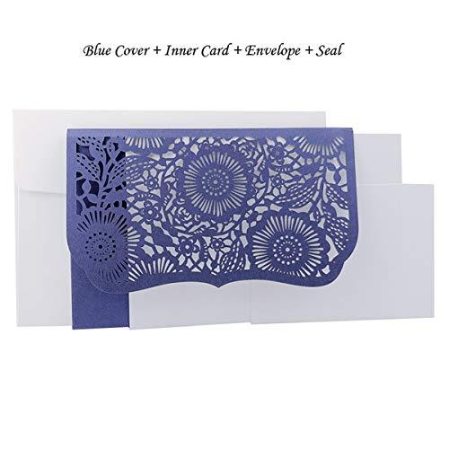 AOWEIRILUV 10 Stück blau weiß rot golden lila Tasche Hochzeit Einladungskarte Business Party Dekoration