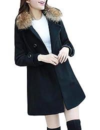 FELZ Abrigos de Invierno para Mujer Abrigo de Lana Medio Abrigo de Lana  Abrigos de Mujer 4cce7b123818